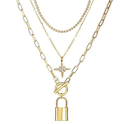 MTWERS Moda Pequeño Collar Cruzado múltiples Capas Starpacked Star Lock Colgante Collar Colgante Personalizado Alojamiento Golden Mujer Hip Hop Joyería (Color : A6, Size : L6)