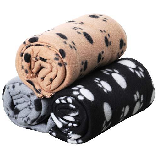 DIGIFLEX- Driedelige set XL Zachte Hond Kat fleecedeken voor huisdieren - Extra grote pluche plaids - Beige grijs en zwart - 144 cm x 96 cm