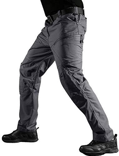 KEFITEVD Taktische Hose Herren Airsoft Paintball Kommando Hose Multi Taschen Männer Lang Militär Ranger Hose Frühling Outdoor Robust Einsatzhose Grau 32