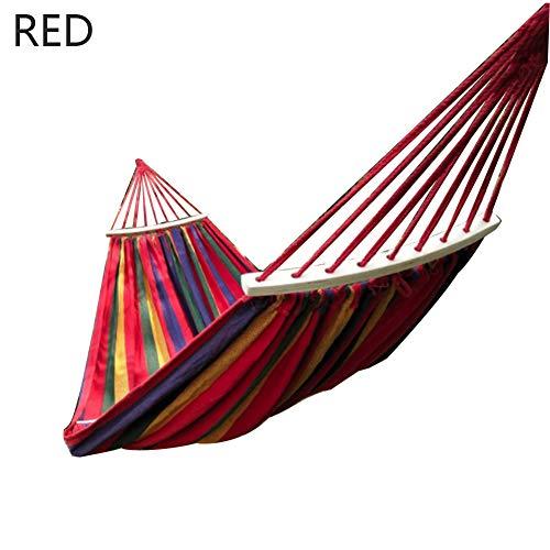 ZXIAQI - Hamaca de camping de tela de campamento, hamaca de madera estable, hamaca de jardín, columpio, silla colgante para interior exterior, casa, jardín, terraza, balcón, peso máximo: 150 kg, rojo