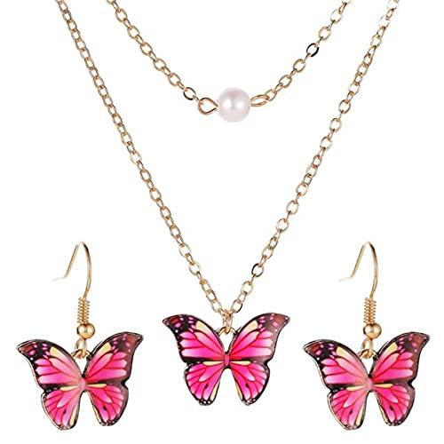 QIN Lindo Colgante de Mariposa de Esmalte Colorido de Moda para Mujer Conjunto de Joyas románticas Pendientes de Doble Collar para Regalo de cumpleaños Femenino