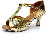 ZIYEYE Zapatos De Baile Latino para Mujer Peep Toe Hebilla Tobillo Correa De Lentejuelas Chacha/Jazz/Ballroom Sandalias De Baile De Baile(Size:38 EU,Color:Goldheel7cm)