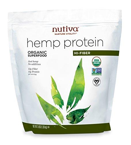 Nutiva Organic Cold-Pressed Raw Hemp Seed Protein Powder, Hi-Fiber, 3 Pound | USDA Organic, Non-GMO | Vegan, Gluten-Free, Keto & Paleo | Plant Protein with Fiber & Essential Amino Acids