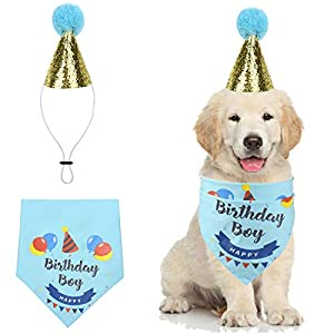Cozifree Dog Birthday Bandana Girl Boy Birthday Party Supplies Decorations Birthday Outfit for Pet Puppy Cat