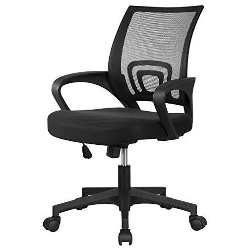 Yaheetech Bürostuhl Drehstuhl ergonomischer Schreibtischstuhl höhenverstellbar Chefsessel mit Rollen Große Sitzfläche Mesh Schwarz