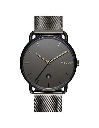 Meller Unisex Erwachsene Analog Quarz Uhr mit Edelstahl Armband 3GG-2GREY
