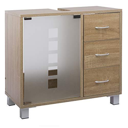 Limal Waschtischunterschrank mit 3 Schubladen Holz Sonoma Eiche, 30 x 60 x 56 cm | Glastür | Teilrückwand | Aussparung für Siphon