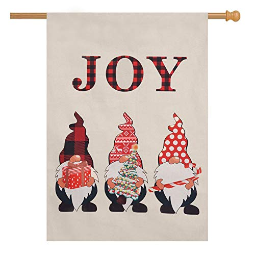 wartleves Christmas Gnomes House Flag Double Sided Yard Flag 28x40 Burlap Flag for Outside Garden Farmhouse Winter Xmas New Year Holiday Seasonal Decor
