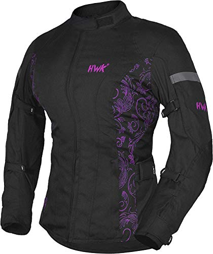 HWK Women's Motorcycle Jacket For Women Rain Waterproof Moto Riding Ladies Motorbike Jackets CE Armored (Black/Pink, X-Large)