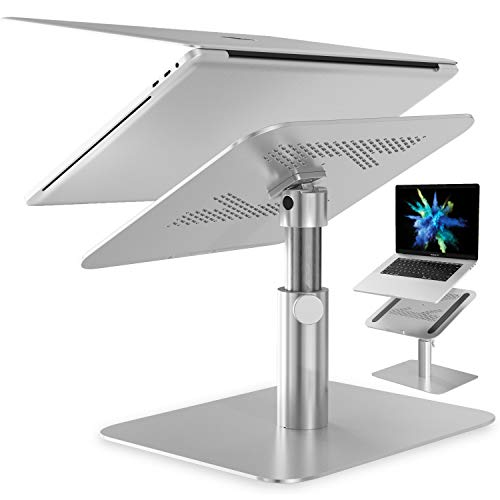 Adjustable Laptop Stand | TRAVAH Notebook Riser Multi-Angle Height 360° Rotation | Aluminum Ventilated Ergonomic Computer Stand Holder | Compatible with MacBook Pro Air, Dell XPS, HP | 10'-17' Laptops