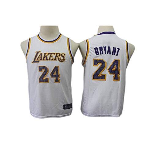 KSWX Camiseta de Baloncesto Estilo Infantil Lakers # 24 Suit Traje De Entrenamiento De Baloncesto,White,M