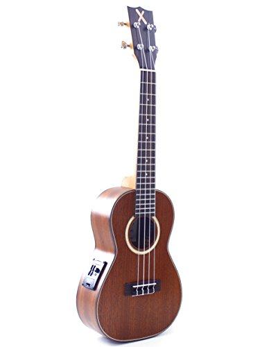 Mahimahi ukulele concerto amplificato X series in mogano massello, binding e rosetta in acero