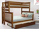 Bedz King Bunk Beds Twin over Full Mission Style with End Ladder and a Twin Trundle, Espresso