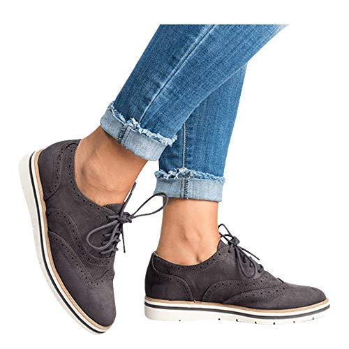 Womens Ankle Flat Suede Lace-up Sport Shoes Walking Running Casual Fashion Sneakers (Dark Gray -1, US:7.5-8.0)