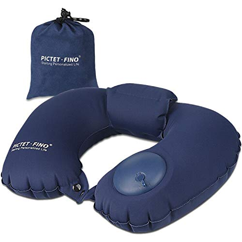Sooair Almohada de viaje, ultraligera, cómoda almohada cervical hinchable para viajes, resistente al agua, para camping, avión, coche, tren, oficina, viajes, color azul oscuro
