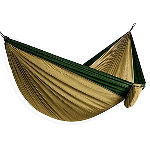 Hamaca para Acampar Hamacas Portátiles con Paracaídas De Nailon con 2 Mosquetones para Viajes De Mochilero Playa (Color : Green, Size : 300kg)