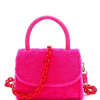 Retro Plastic Chain Faux Fur Flap Mini Top-Handle Satchel Bag Crossbody Neon Yellow Pink  Neon-Pink