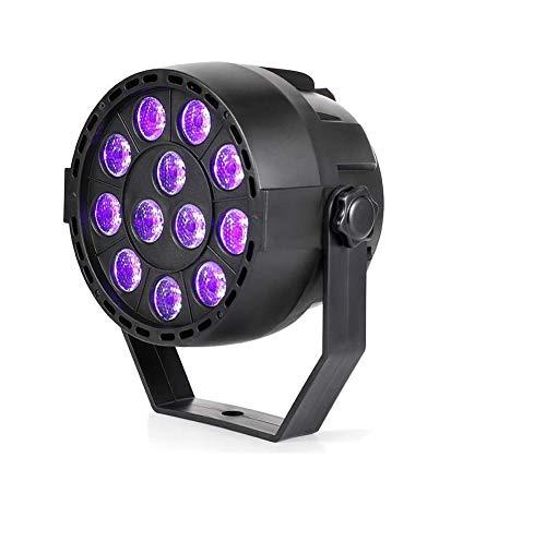 UV Schwarzlicht, 12 LED UV Bühnenbeleuchtung Par Lampe Scheinwerfer mit 4 Modi, DMX512 Sound Steuerung LED Strahler für Party Bar Disco Club