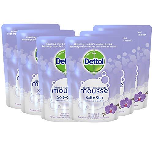 Dettol Handzeep Zachte Mousse – Navulling Magic Foam – Orchidee & Vanille – 200 ml x6 – Grootverpakking