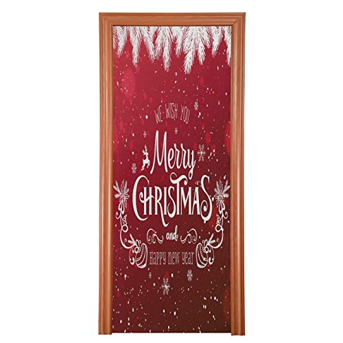 Qilmy Christmas Door Cover Washable High Elastic Fabric Waterproof Front Festive Door Cover for Home, Indoor Outdoor Party Decoration,35 x 79 Inch