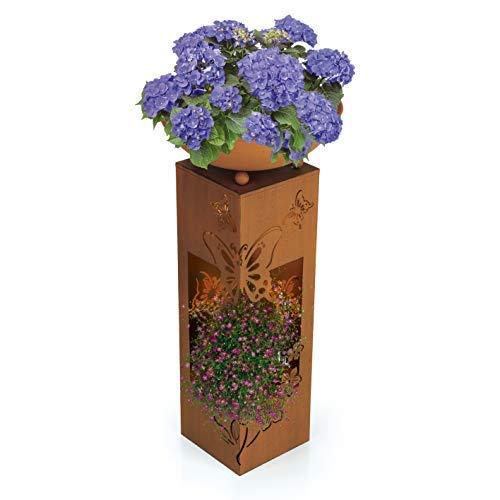 Hoberg LED Pflanzsäule 3D Schmetterling-Design in Rost-Optik | Abnehmbare Pflanzschale (Ø 34cm) In- und Outdoor geeignet | Integrierte Beleuchtung, 6h Timer, Kabellos | [ 19 x 19 x 72 cm]