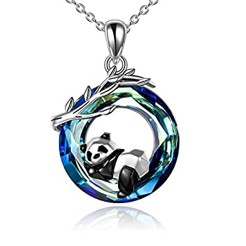ONEFINITY Panda Necklace S925 Sterling Silver Origami Panda Necklace Panda Crystal Pendant Jewelry for Women  Blue
