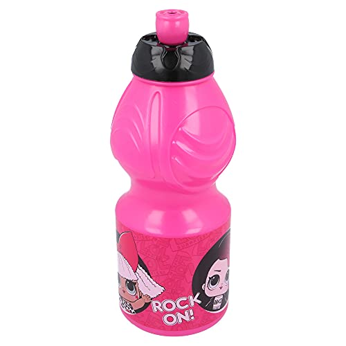 LOL SURPRISE   Botella de Agua Infantil con cierre antifugas   Cantimplora Reutilizable para niños con tapón anti goteo - Libre de BPA - 400 ML