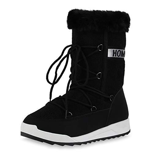 Giralin Damen Gefütterte Winter Boots Bequeme Stiefel Echtfell Winterschuhe Prints Schnürer Flache Profilsohle Schuhe 198936 Schwarz 37