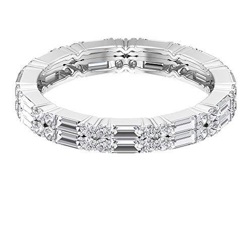 Anillo de boda de diamantes con forma de baguette de 1,76 ct, certificado SGL, anillo de promesa de diamantes, único aniversario, anillo de novia de eternidad, 14K Oro blanco, Size:EU 53