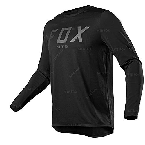 PYMNDZ Fox Black Jersey Fxr Motocross Cycling Off Road Dirt Bike Riding ATV MTB Dh Men's Racing Long Sleeve Shirt-M