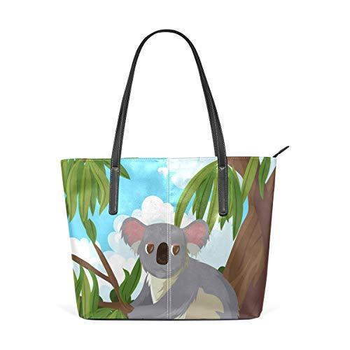 XGBags Custom Borsa a tracolla in pelle PU da donna Koala In Gum Tree Purse PU Leather Shoulder Tote Bag Purse for Womens Girls Ladies