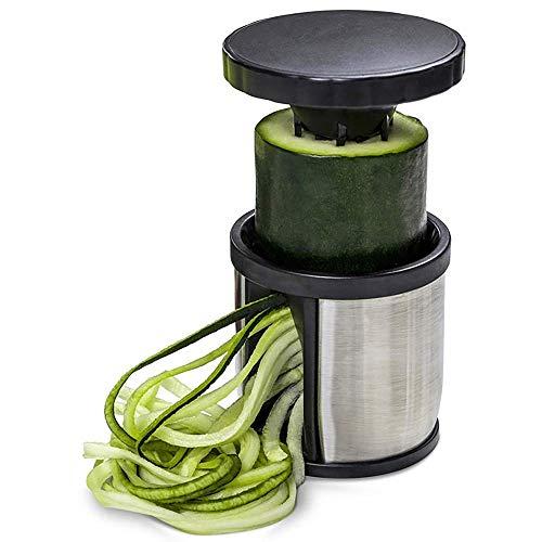 FENGLI - Cortador de verduras en espiral, pelador de espiralización de mano, cortador en espiral de mano, fabricante de espaguetis de manzana o calabacín, acero inoxidable