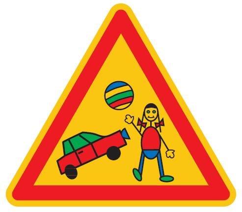 Qualitäts - Aluminium Schild Spielstrasse Kinder dreieckig 300 mm geprägtes Aluschild 0,6 mm Alu