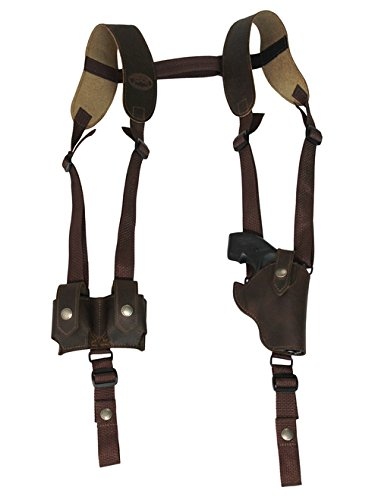 Barsony New Vertical Brown Leather Shoulder Holster w/Speed-Loader Pouch for Ruger LCR 38, 22 Left