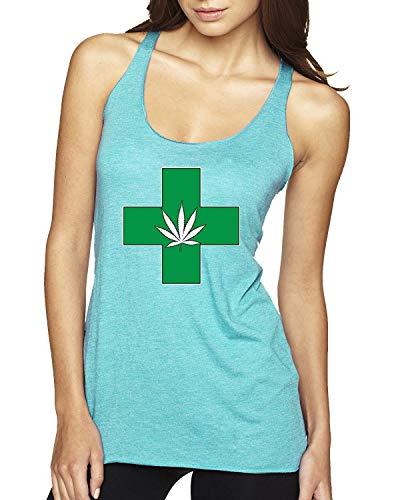 Medical Marijuana Pot Leaf Logo | CBD Legalize Cannabis | Womens Weed Premium Tri-Blend Racerback Tank Top, Tahiti Blue, Small (Best Performing Marijuana Stocks 2019)
