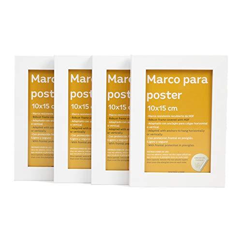 Nacnic Set de 4 Marcos Blancos para Fotos, Posters, láminas, Diplomas. Tamaño(10x15 cm).Robustos de MDF y Frontal de plexiglas.Marcos Blancos para Colgar