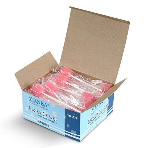 Disposable Oral Care Sponge Swabs(50pcs Pink)