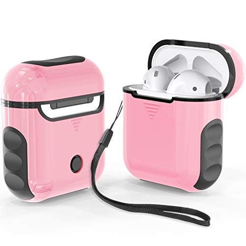 ORETech Airpods Case Cover, Heavy Duty Protective Hybrid Hard PC + Silicone Cover Skin for Airpods 1/ Airpods 2 accessories -Pink&Black