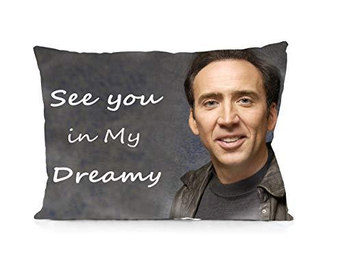 Waterproof Nicolas Cage See You in My Dreamy Pillowcases Print Zipper Pillow Covers Kissenbezüge (35cmx50cm)