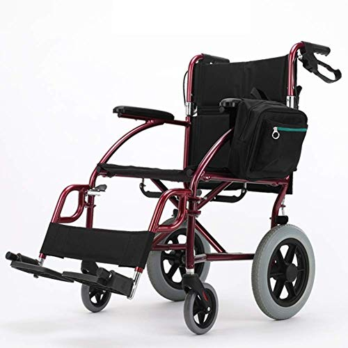 Yeeseu Silla médica de rehabilitación, sillas de ruedas, silla de ruedas plegable de peso ligero de conducción médica, sillón de ruedas mayor Pequeño aleación de aluminio portátil de viaje discapacita