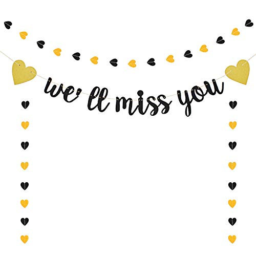 We Will Miss You Banner Black Glitter Banner Farewell Banners for Retirement Graduation Going Away Office Work Party Decorations