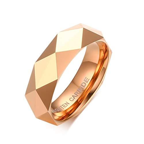 CHCO Anillos De Carburo De Tungsteno para Hombre De Moda Alianza De Boda Facetada para Hombres Mujeres Borde Biselado Pulido Confort Fit Rose Gold-Color 7 Rose Gold