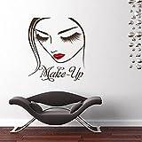Rgzqrq Hermosa decoración de Maquillaje Vinilo diseño de calcomanía de Pared Etiqueta de la Pared Estudio de Belleza cosméticos Maquillaje Logo Vinilo Cartel 70x80 cm