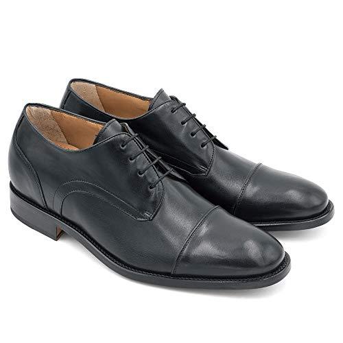 Zapatos de Hombre con Alzas Que Aumentan Altura hasta 7 cm. Fabricados en Piel. Modelo Birmingham Negro 41