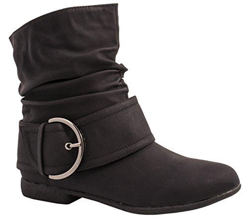 Elara Damen Stiefelette Gefüttert Schnallen Boots Chunkyrayan P 002B-PA Black-39