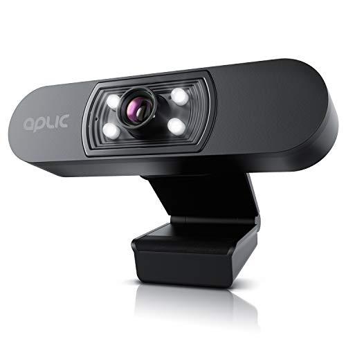 CSL - Webcam Full HD 1080p mit Mikrofon - 2k 1920x1080P @ – 4 Hilfslichter/Szenelicht– 5P Linse – automatischer Weißabgleich - für PC MAC - OBS, Zoom, Mixer, Skype, FaceTime - Laptop Notebook
