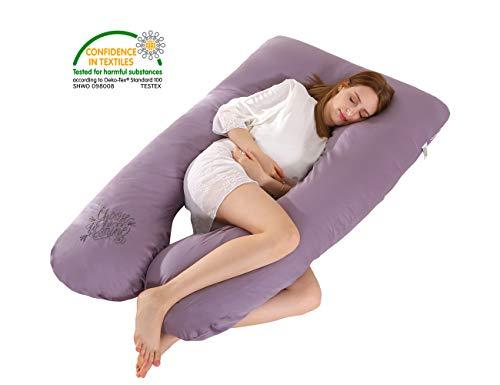 SALAD HOUSE U-förmiges Schwangerschaftskissen Seitenschläferkissen Lagerungskissen mit Abnehmbarem und Waschbarem 100% Baumwolle 320TC Stickerei Design Lila (LavenderAura)