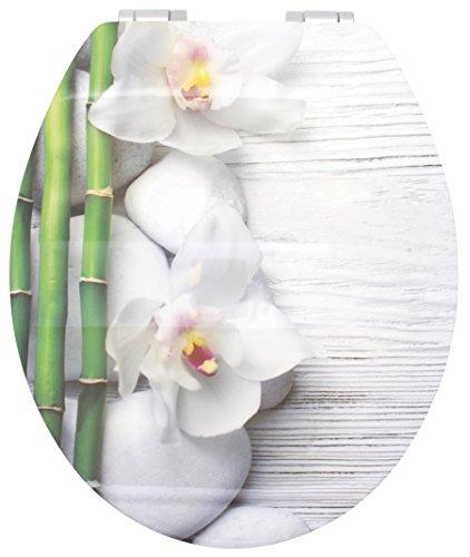 Sanwood WC Sitz mit Softclose Deckel – Hochglänzende Oberfläche Motiv Spa- Antibakterieller Toilettendeckel mit Holzkern und Absenkautomatik – Durchdachte Scharniertechnik