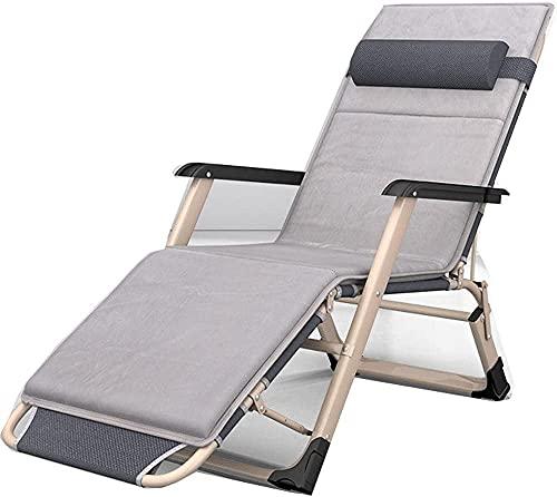Silla de sol de gravedad cero reclinada al aire libre, sillón de salón de jardín de gravedad cero, cama plegable al aire libre, piscina para acampar sillón casual, sillón gris, tubo redondo + algodón,