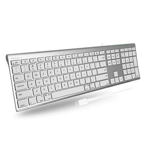 Macally USB C Keyboard for Mac - Elegantly Designed for Apple Keyboard Wired with Type C - for New Gen Mac Pro/Mini, MacBook Pro/Air, iPad, iMac - 110 Scissor Keys and 20 Shortcuts - (Aluminum)